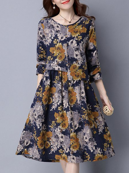 Navy Blue Paneled Long Sleeve Floral Casual Dress