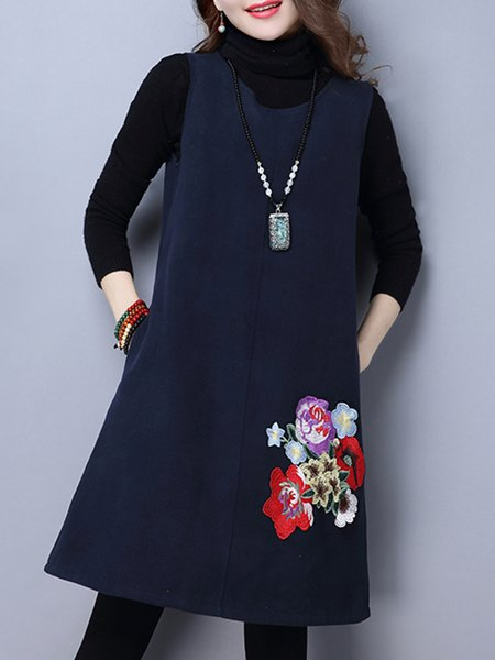 Navy Blue Pockets A-line Crew Neck Casual Sleeveless Dress