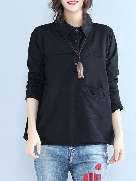 Black Long Sleeve H-line Plain Blouse