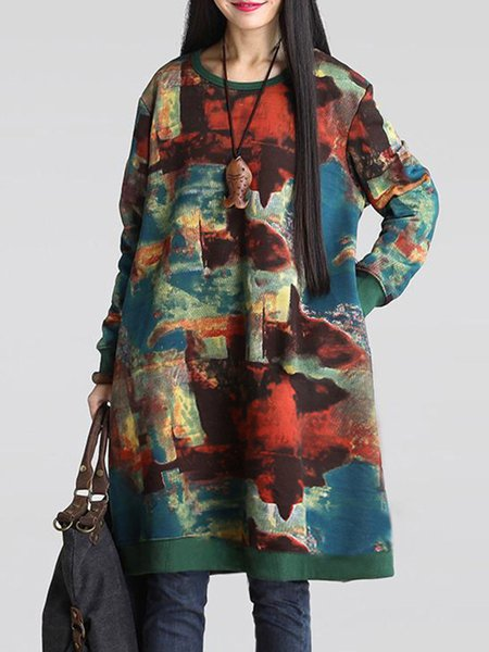 Green Women Print Dress Crew Neck Cocoon Long Sleeve Cotton Dress