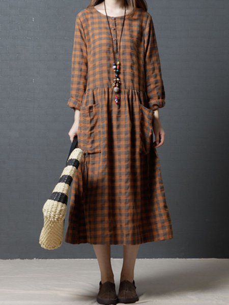 Mustard Long Sleeve Crew Neck Pockets Linen Dress
