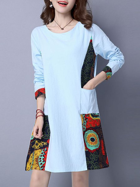 Long Sleeve Abstract Casual Casual Dress