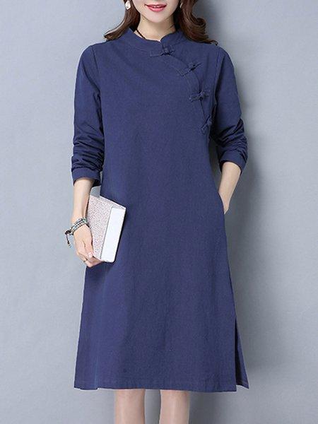 Navy Blue Long Sleeve H-line Casual Dress