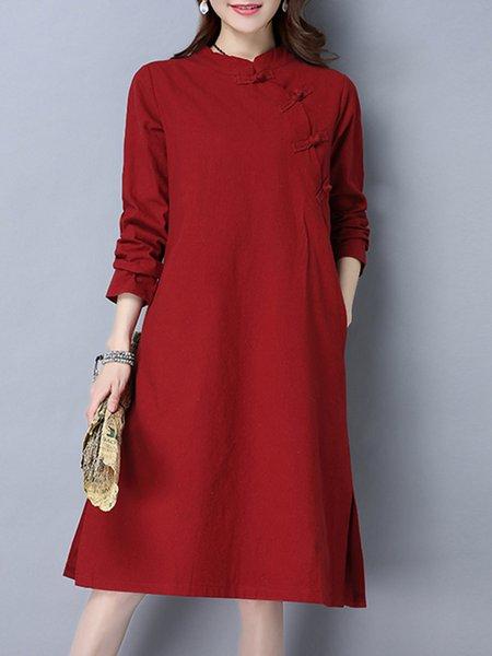 Red Women Casual Dress Stand Collar Shift Cotton Slit Dress