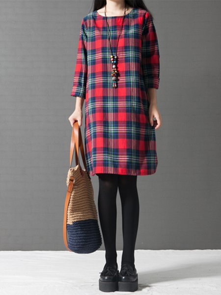 Red Women Casual Dress Crew Neck Daytime Casual Cotton Dress