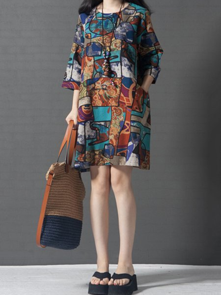Blue Women Casual Dress Crew Neck Shift Daily Casual Abstract Dress