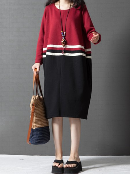 Red Long Sleeve Color-Block H-line Casual Dress
