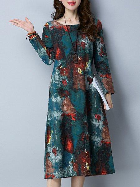 Abstract Casual Long Sleeve Pockets Dress