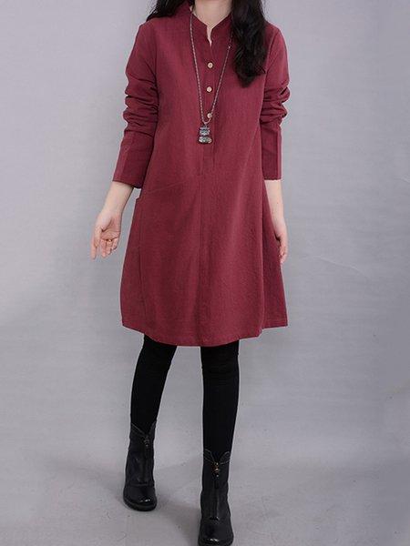 Women Casual Dress Stand Collar Going out Pockets Plain Dress