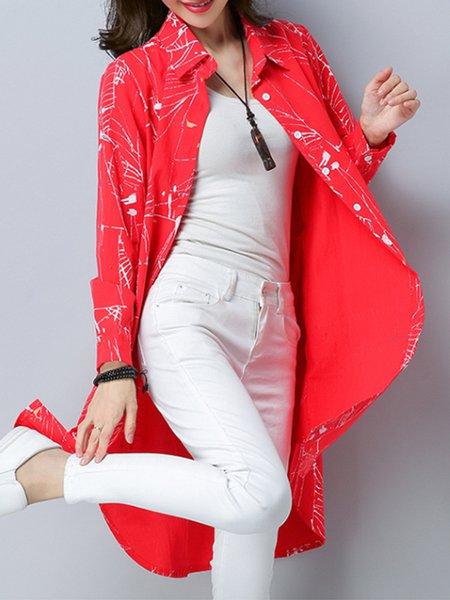Linen Abstract Casual Shirt Collar  Tunic