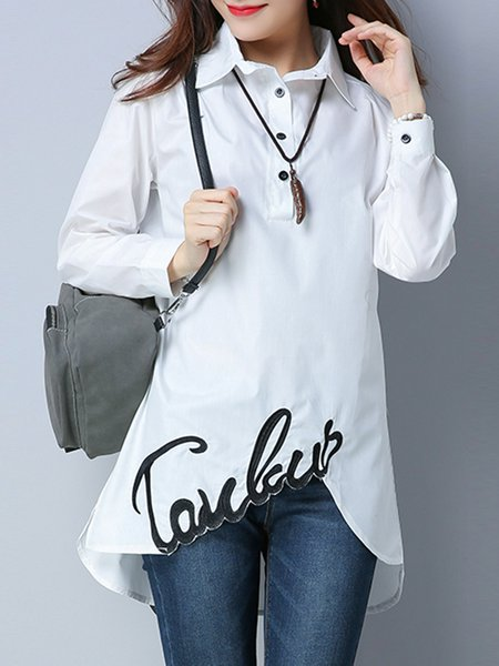 Embroidered Casual Long Sleeve Shirt Collar Tunic