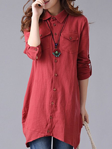 Red Shirt Collar Pockets Casual Blouse