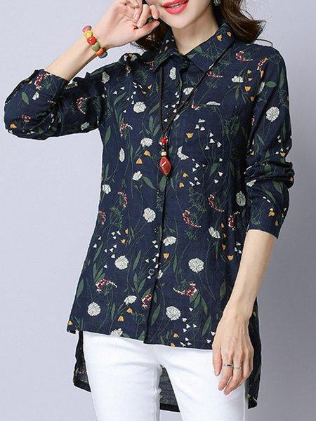 Navy Blue Pockets Linen High Low Casual Shirt