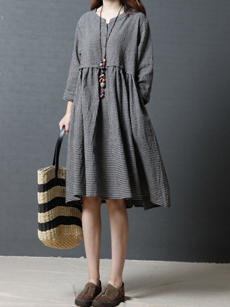 Women Casual Dress Stand Collar Shift Casual Gingham Dress