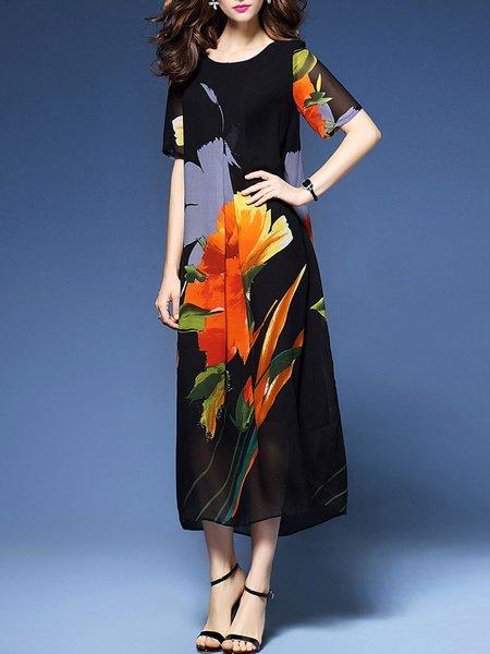 Black Women Print Dress Shift Daytime Short Sleeve Cotton Dress