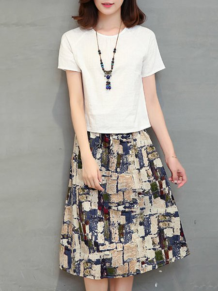 White Abstract Two Piece Short Sleeve Crew Neck Casual Dress