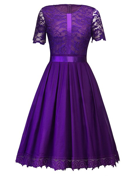 See-through Look Short Sleeve Vintage Skater Plain Vintage Dress
