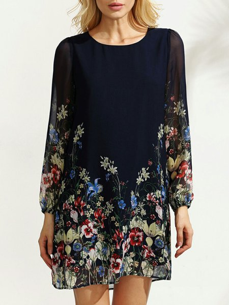Navy Blue Printed Floral Crew Neck Casual Dress