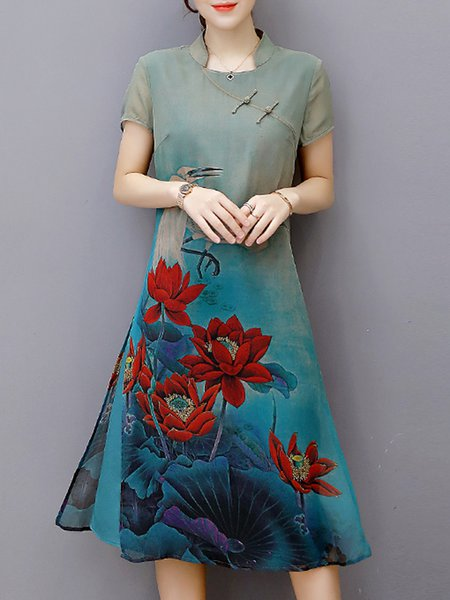 Blue Women Print Dress Stand Collar A-line Going out Short Sleeve Floral Dress