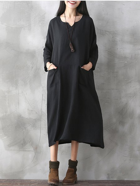 Black A-line Long Sleeve Pockets Casual Dress
