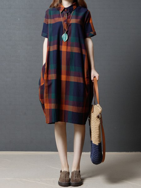 Orange Shirt Collar Checkered/Plaid Short Sleeve Casual Dress