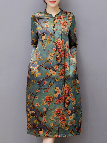 Multicolor Women Vintage Dress Stand Collar A-line Daytime Vintage Buttoned Dress