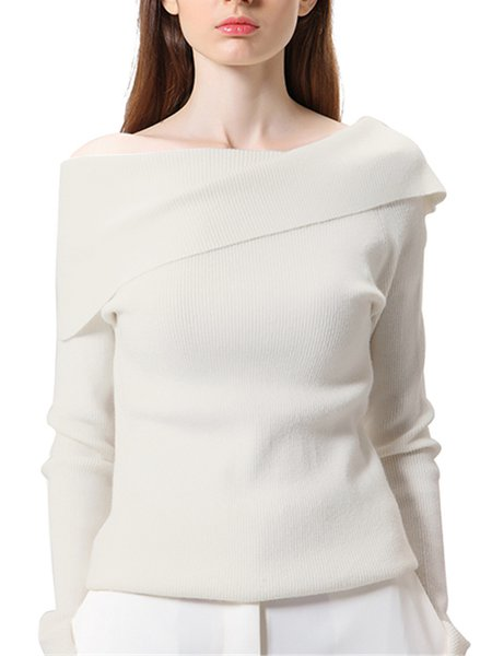 White Off Shoulder Sheath Knitted Long Sleeve Sweater