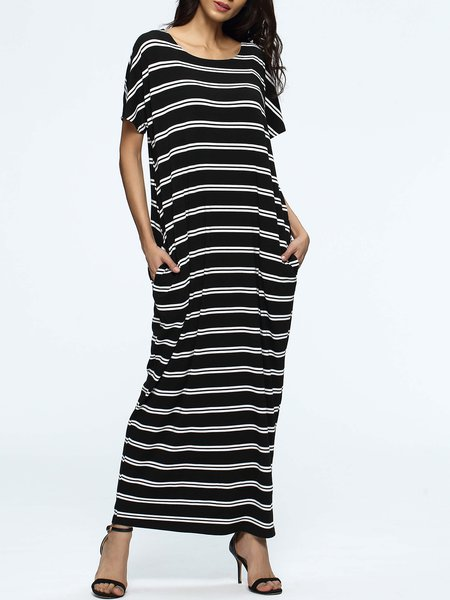 Black Stripes Casual Pockets Maxi Dress