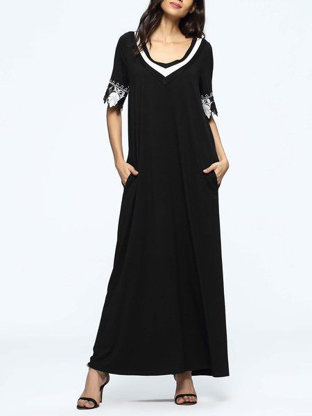 Black Pockets Casual V Neck Maxi Dress