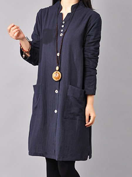 Linen Stand Collar Long Sleeve Buttoned Solid Dress