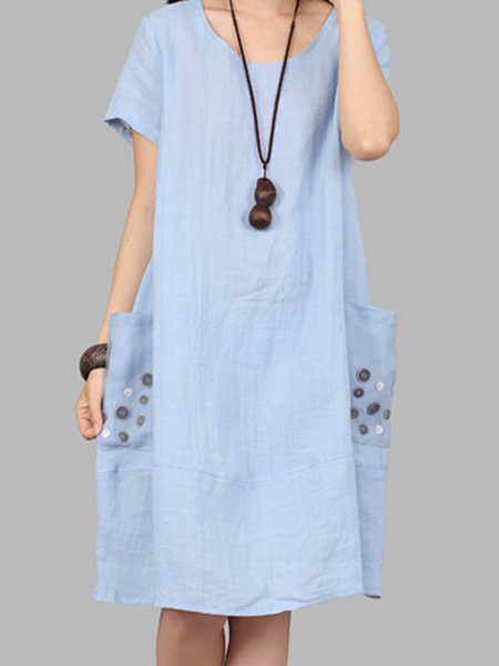Light Blue Buttoned Short Sleeve Cocoon Casual Dress