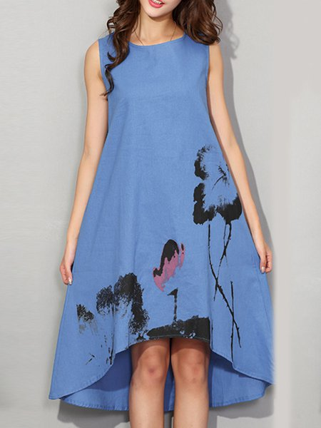Blue Floral Sleeveless High Low Casual Dress