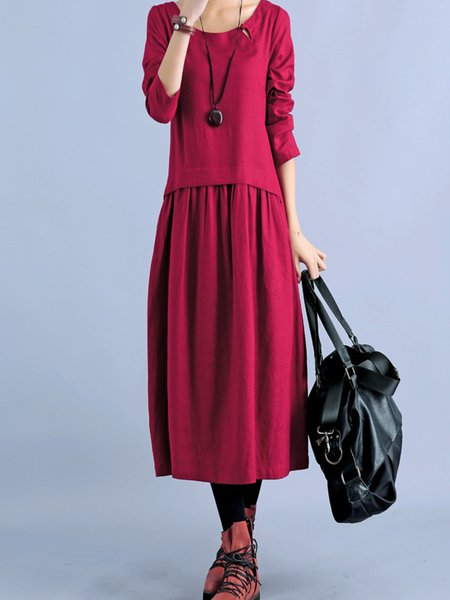 Burgundy Gathered A-line Long Sleeve Casual Dress