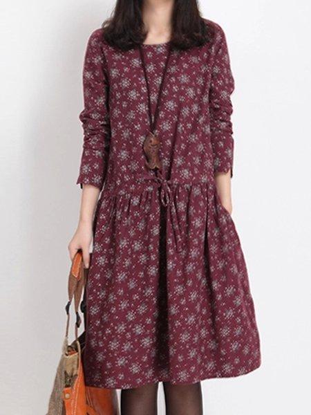 Burgundy Crew Neck Long Sleeve Casual Dress