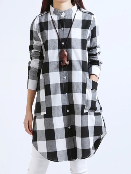 Casual Checkered/Plaid Long Sleeve Tunic Top