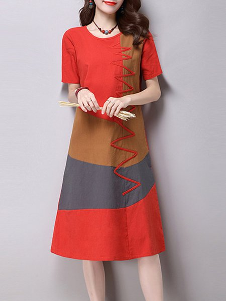 Red Women Casual Dress Crew Neck A-line Daily Casual Paneled Dress