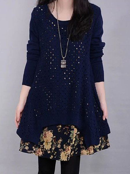 Knitted Floral Long Sleeve Crew Neck Two Piece Casual Dress