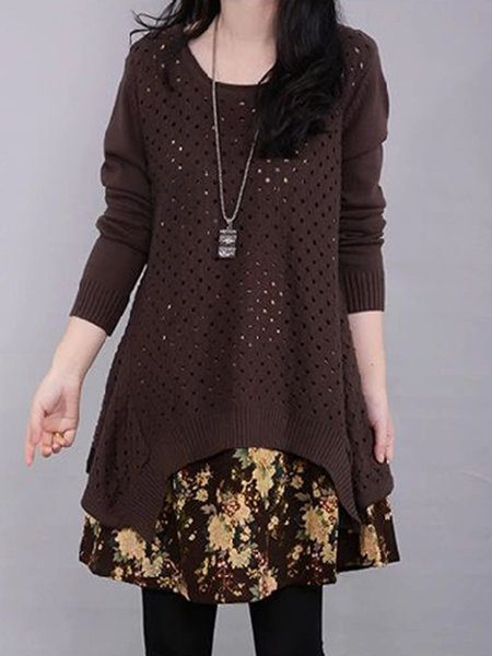 Coffee Asymmetric Two Piece Floral Crew Neck Casual Dress
