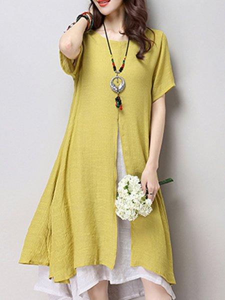 Women Casual Dress Asymmetrical Daytime Casual Cotton Dress