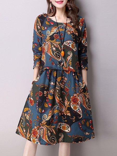 Dark Blue Printed Long Sleeve Casual Dress
