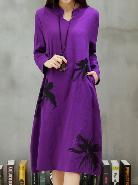 Printed Floral Stand Collar Long Sleeve Casual Dress