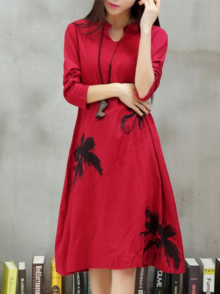Red Floral Stand Collar A-line Casual Dress
