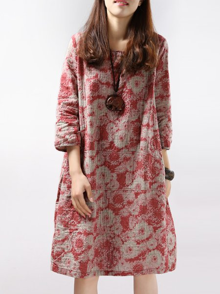 Women Print Dress Crew Neck Shift 3/4 Sleeve Cotton Dress