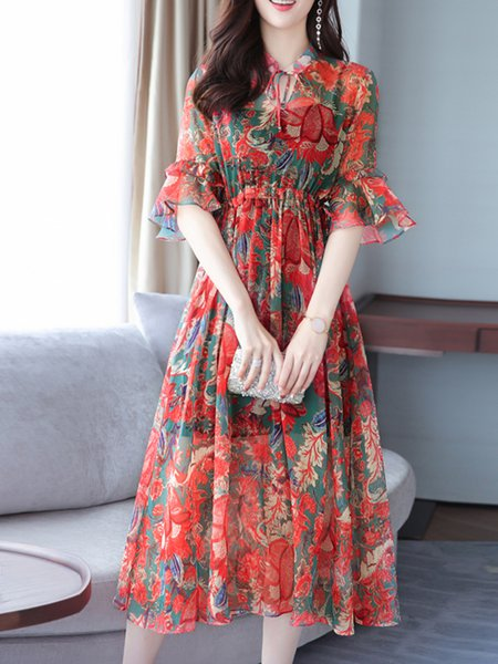 Red Bell Sleeve Printed Floral Chiffon Dress