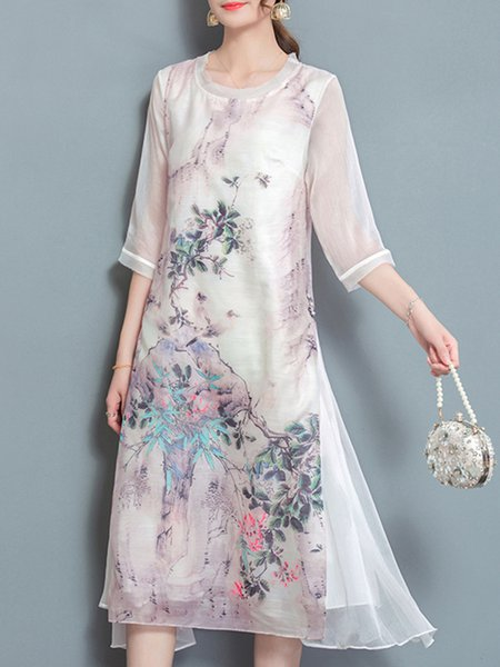 White Printed Vintage Style Floral Dress