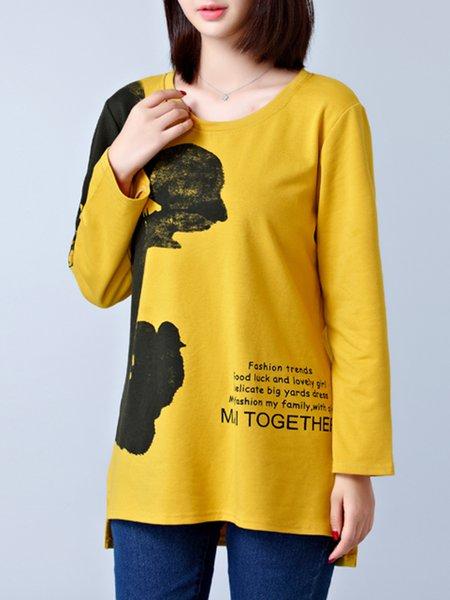 Long Sleeve Printed Casual  T-Shirt