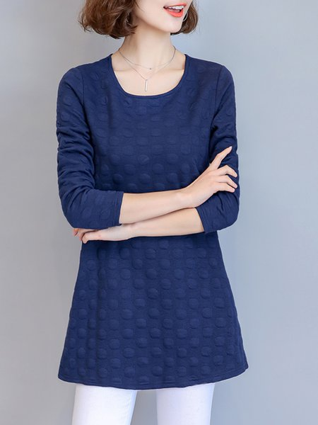 Crew Neck Casual Pockets Polyester  Tunic