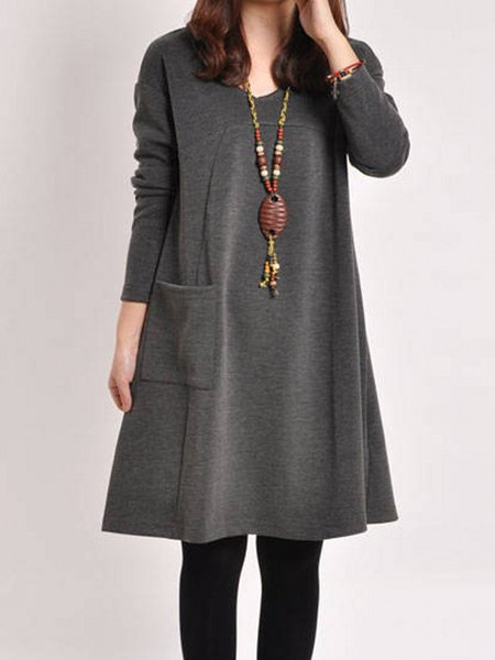 Women Casual Dress V neck Shift Going out Long Sleeve Cotton Dress