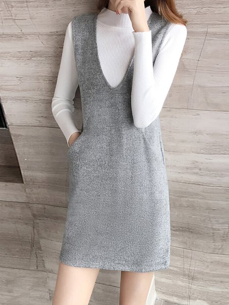 Two Piece Long Sleeve Casual Stand Collar Knitted  Dress