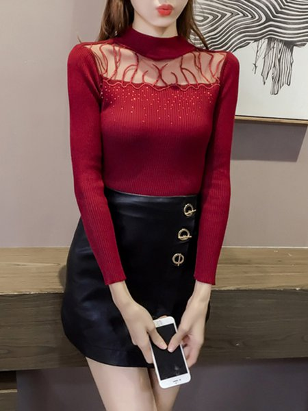 Red Embellished Turtleneck Long Sleeve Sweater